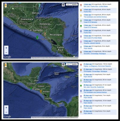 Recent earthquake activity near Honduras