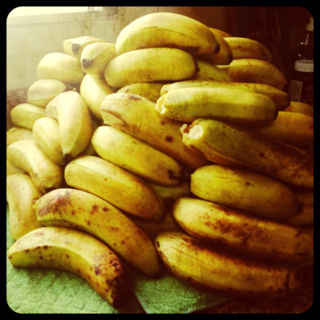 A Pile of Ripe Bananas on the Counter