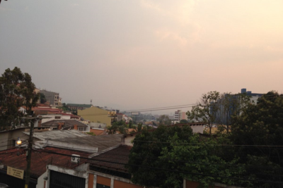 Tegucigalpa, Honduras blanketed in smoke.