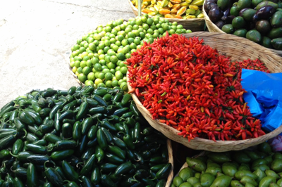 Chili peppers at The Mercado in Tegucigalpa, Honduras
