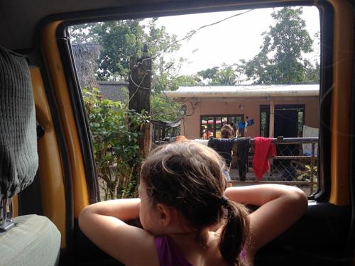 Looking out the car window in La Ceiba, Honduras