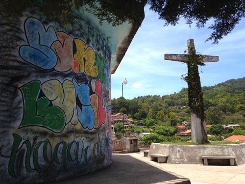 Cross and graffiti in Santa Lucia, Honduras
