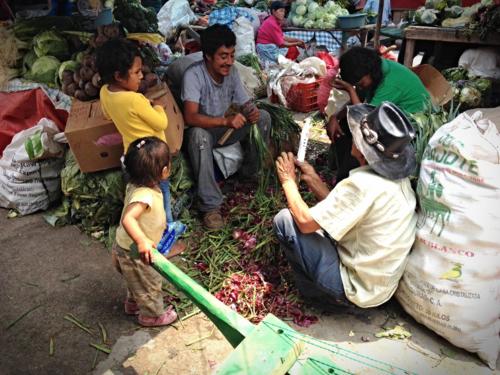 Family working at The Mercado Market in Tegucigalpa, Honduras