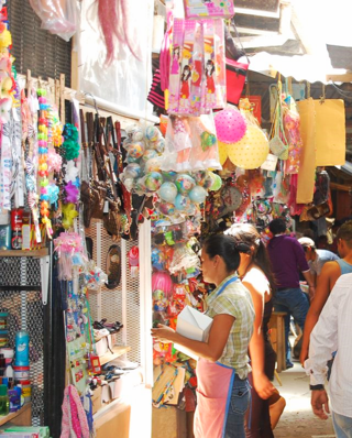 Stalls with goods for sale in Marcala, Honduras
