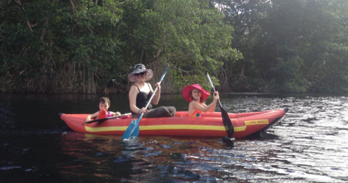 Kayaking with Kids on Cacao Lagoon, La Ceiba, Honduras