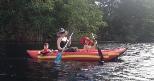 Kayaking with Kids on Cacao Lagoon, La Ceiba, Honduras
