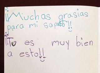 Child's card written in Spanish