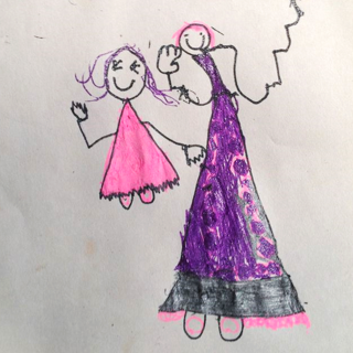 drawing of mother and daughter