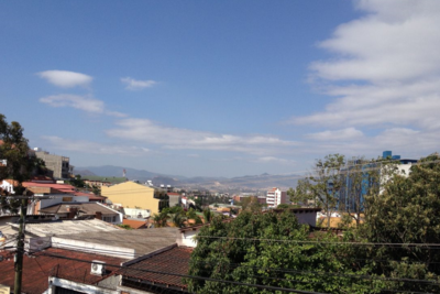 The clear sky in Tegucigalpa, Honduras.