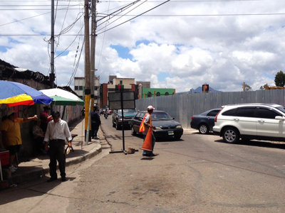 Construction traffic in Tegucigalpa, Honduras