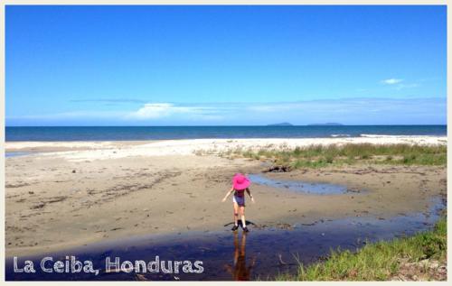 The beach at Cacao Lagoon, La Ceiba, Honduras