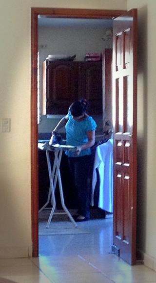 A housekeeper in Tegucigalpa, Honduras