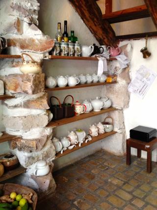 A wall of teapots in Santa Lucia, Honduras
