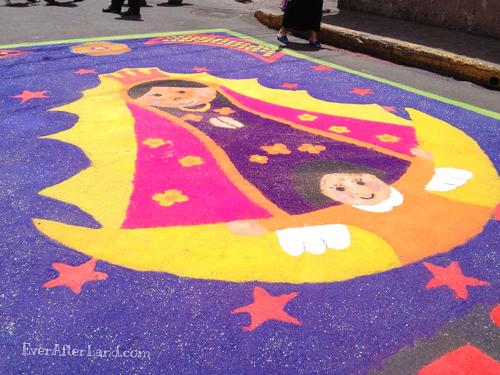 Una alfombra de Suyapa durante Semana Santa, Tegucigalpa, Honduras, Central America