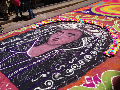 A carpet of Mary, or Suyapa, with a floral adornment