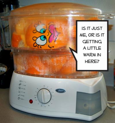 Sliced Pie Pumpkins in the steamer.