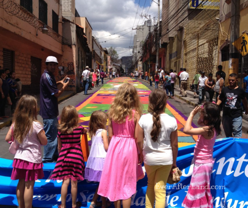 Easter Carpets in Tegucigalpa, Honduras, Central America