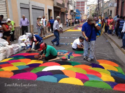Constructing las alfombras during Semana Santa in Tegucigalpa, Honduras, Central America Easter